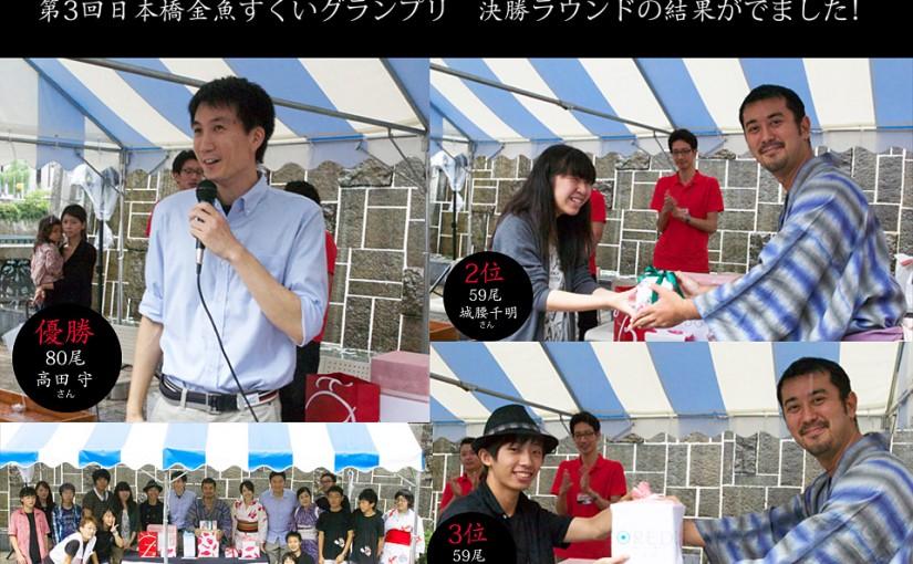 ECO EDO 日本橋2015「第3回 日本橋金魚すくいグランプリ」決勝ラウンド結果発表!